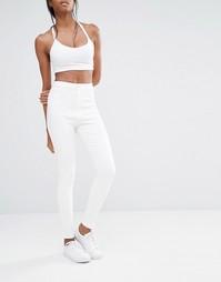 Супероблегающие джинсы с завышенной талией Missguided Vice - Белый