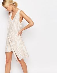 Платье с V-образным вырезом и поясом Neon Rose - Мульти