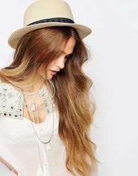 Соломенная шляпа с контрастной лентой Pieces