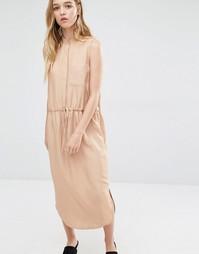Платье-рубашка со шнурком на талии Neon Rose - Рыжий
