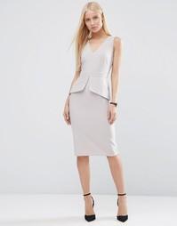 Платье-футляр без рукавов с баской ASOS - Серый