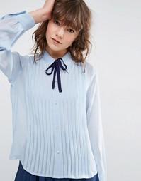 Блузка с защипами и завязкой ASOS - Синий