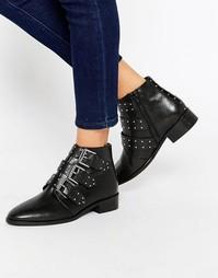 Кожаные ботинки с заклепками ASOS ASHLEIGH - Черный
