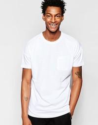 Удлиненная футболка с карманом Minimum - Белый