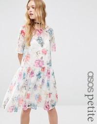 Свободное платье из органзы с цветочным принтом ASOS PETITE - Мульти