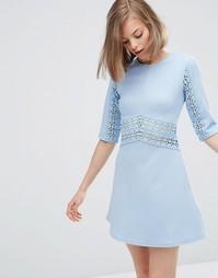 Цельнокройное платье с кружевной вставкой ASOS - Бледно-синий