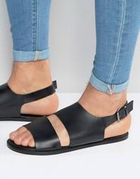 Черные кожаные сандалии с вырезами ASOS - Черный