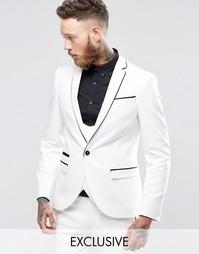 Супероблегающий пиджак стретч с контрастным кантом Noose & Monkey