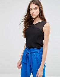 Блузка без рукавов с прозрачной вставкой Lavand - Черный