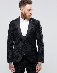 Зауженный пиджак стретч с цветочной отделкой флок Noose & Monkey