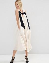 Платье миди в складку ASOS WHITE - Телесный