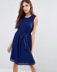Синее платье без рукавов с поясом Lavand - Синий