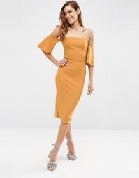 Фактурное платье миди с расклешенными рукавами ASOS - Горчичный