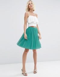 Многослойная юбка мини для выпускного ASOS - Зеленый