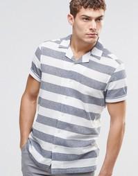 Рубашка в широкую полоску с короткими рукавами ASOS - Белый