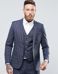 Приталенный пиджак в клетку Harry Brown - Синий
