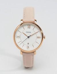 Часы с розовым кожаным ремешком Fossil Jacqueline ES3988 - Розовый