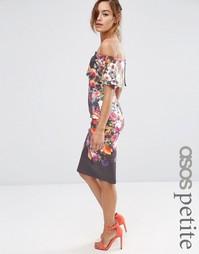 Платье миди с открытыми плечами и цветочным принтом ASOS PETITE