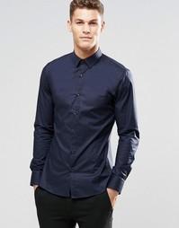 Темно-синяя эластичная строгая рубашка слим HUGO by Hugo Boss