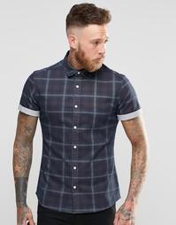 Джинсовая рубашка в клетку с короткими рукавами ASOS - Синий