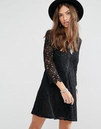 Кружевное платье-рубашка Boohoo - Черный
