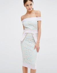 Кружевное платье с бантом на талии Vesper - Сиреневый