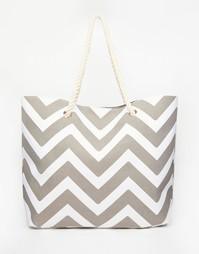 Серая пляжная сумка с шевронным принтом South Beach - Серый
