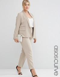 Строгие брюки слим ASOS CURVE Premium - Серо-коричневый