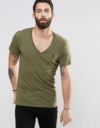 Однотонная футболка с V-образным вырезом Religion - Зеленый