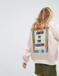 Куртка-пилот со вставкой со слоганом Peace на спине Native Rose