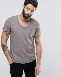 Однотонная футболка с глубоким вырезом Religion - Серый