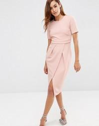 Фактурное двухслойное платье ASOS - Телесный