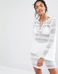 Кружевное пляжное платье с рукавами-колокол Floozie - Белый
