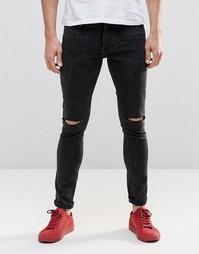 Стретчевые джинсы с рваной отделкой Religion - Черный