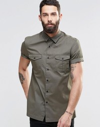 Рубашка цвета хаки в стиле милитари с короткими рукавами ASOS - Хаки