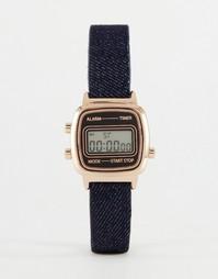 Цифровые часы с маленьким корпусом и джинсовым ремешком ASOS - Синий
