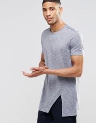 Супердлинная меланжевая футболка с разрезами по бокам ASOS - Серый