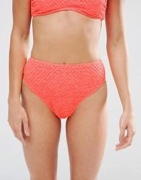 Фактурные плавки бикини с высокими вырезами ASOS - Коралловый