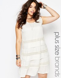 Платье на завязке с ажурными вставками Diya Plus - Белый