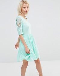 Платье с кружевной вставкой на рукавах Lavand - Зеленый