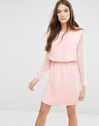 Приталенное платье с длинными рукавами Lavand Classic - Розовый