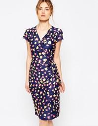 Трикотажное платье с запахом и леопардовым принтом Uttam Boutique