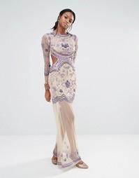 Платье макси с длинными рукавами Missguided