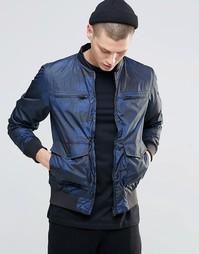 Куртка-пилот с камуфляжным принтом N1SQ - Темно-синий