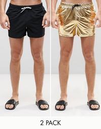 Набор из 2 коротких шортов для плавания черного и золотистого цвета AS Asos