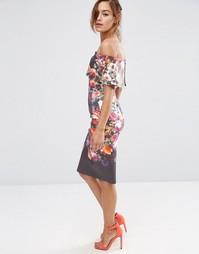 Платье-футляр миди с открытыми плечами и широким отворотом ASOS
