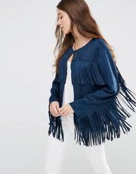 Куртка с бахромой из искусственной замши Jayley - Темно-синий