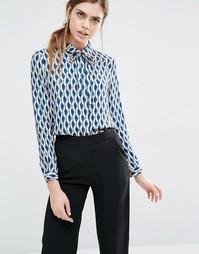 Рубашка с бантиком-завязкой и геометрическим принтом Suncoo Leonor