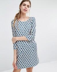 Цельнокройное платье с геометрическим принтом Suncoo Candy - Ocre