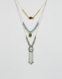 Броское ожерелье с разными бусинами Missguided - Серебряный